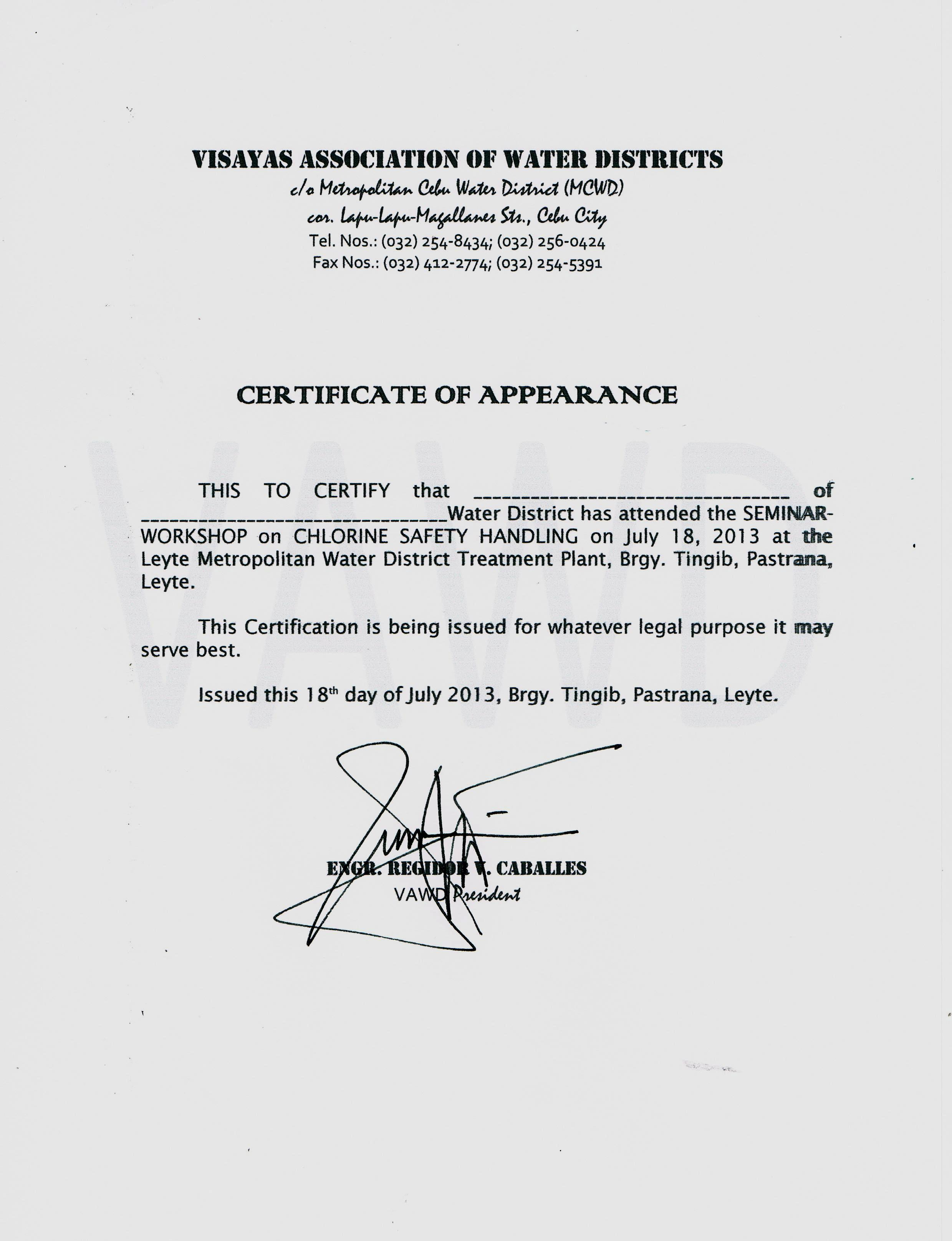 Catbalogan water district for Certificate of appearance template